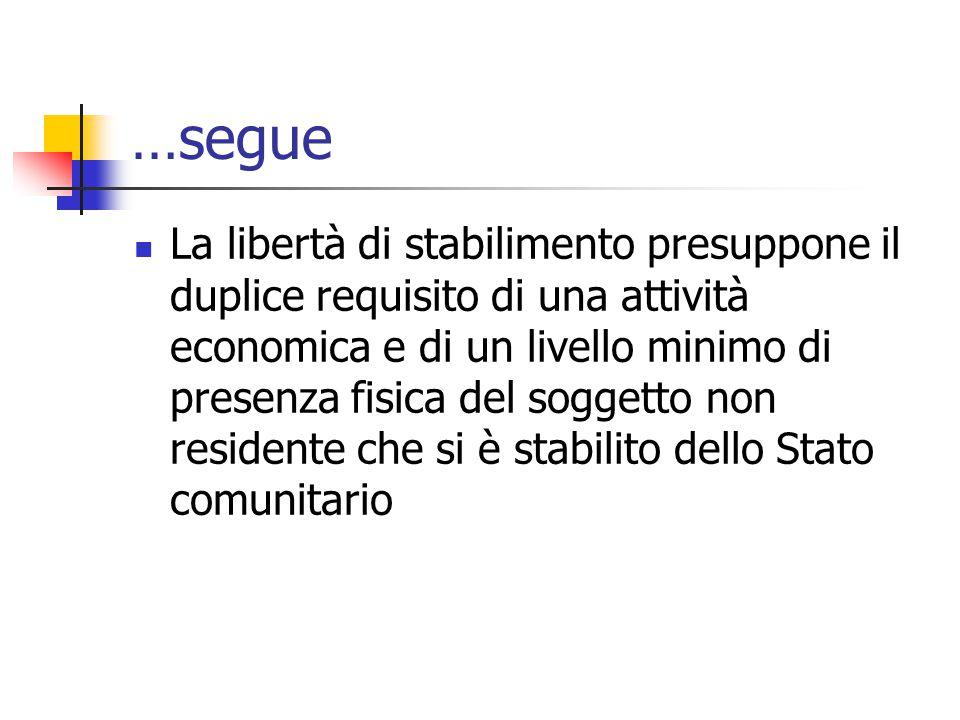 …segue La libertà di stabilimento presuppone il duplice requisito di una attività economica e di un livello minimo di presenza fisica del soggetto non
