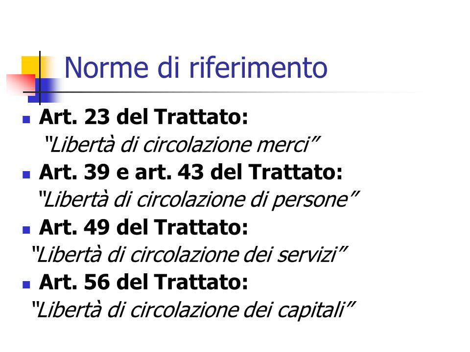 """Norme di riferimento Art. 23 del Trattato: """"Libertà di circolazione merci"""" Art. 39 e art. 43 del Trattato: """"Libertà di circolazione di persone"""" Art. 4"""