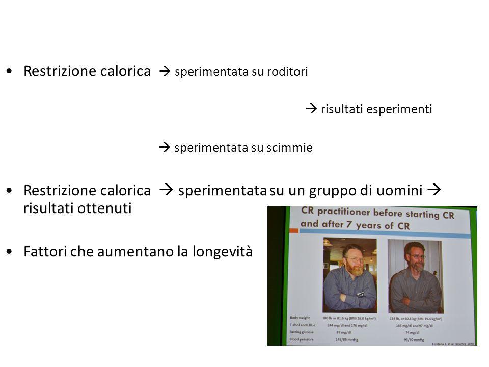 Restrizione calorica  sperimentata su roditori  risultati esperimenti  sperimentata su scimmie Restrizione calorica  sperimentata su un gruppo di