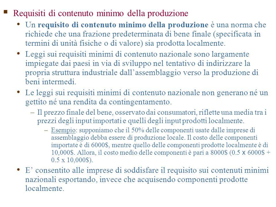  Requisiti di contenuto minimo della produzione Un requisito di contenuto minimo della produzione è una norma che richiede che una frazione predeterminata di bene finale (specificata in termini di unità fisiche o di valore) sia prodotta localmente.