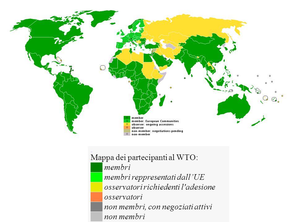 Mappa dei partecipanti al WTO: ██ membri ██ membri reppresentati dall'UE ██ osservatori richiedenti l'adesione ██ osservatori ██ non membri, con negoz