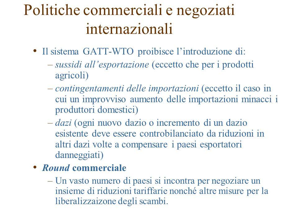 Il sistema GATT-WTO proibisce l'introduzione di: –sussidi all'esportazione (eccetto che per i prodotti agricoli) –contingentamenti delle importazioni (eccetto il caso in cui un improvviso aumento delle importazioni minacci i produttori domestici) –dazi (ogni nuovo dazio o incremento di un dazio esistente deve essere controbilanciato da riduzioni in altri dazi volte a compensare i paesi esportatori danneggiati) Round commerciale –Un vasto numero di paesi si incontra per negoziare un insieme di riduzioni tariffarie nonché altre misure per la liberalizzaizone degli scambi.