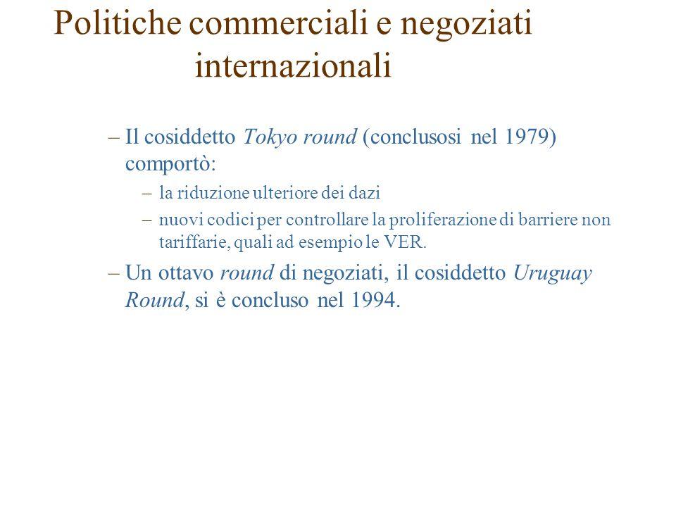 –Il cosiddetto Tokyo round (conclusosi nel 1979) comportò: –la riduzione ulteriore dei dazi –nuovi codici per controllare la proliferazione di barriere non tariffarie, quali ad esempio le VER.