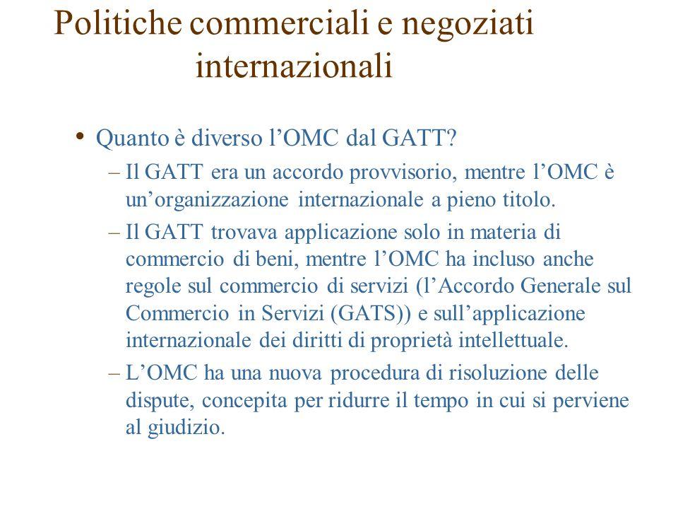 Quanto è diverso l'OMC dal GATT? –Il GATT era un accordo provvisorio, mentre l'OMC è un'organizzazione internazionale a pieno titolo. –Il GATT trovava