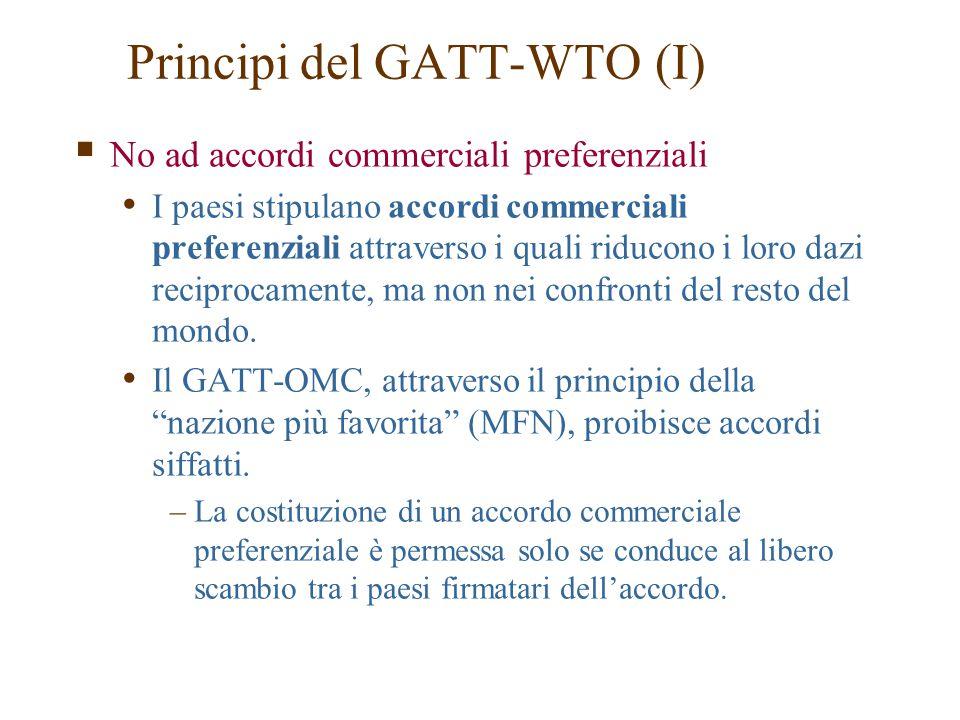  No ad accordi commerciali preferenziali I paesi stipulano accordi commerciali preferenziali attraverso i quali riducono i loro dazi reciprocamente,