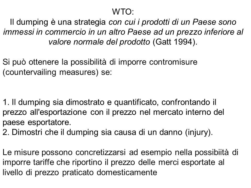 WTO: Il dumping è una strategia con cui i prodotti di un Paese sono immessi in commercio in un altro Paese ad un prezzo inferiore al valore normale del prodotto (Gatt 1994).