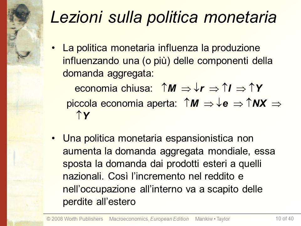 10 of 40 © 2008 Worth Publishers Macroeconomics, European Edition Mankiw Taylor Lezioni sulla politica monetaria La politica monetaria influenza la pr