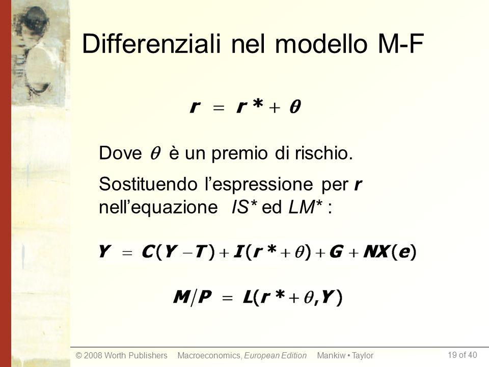 19 of 40 © 2008 Worth Publishers Macroeconomics, European Edition Mankiw Taylor Differenziali nel modello M-F Dove  è un premio di rischio.