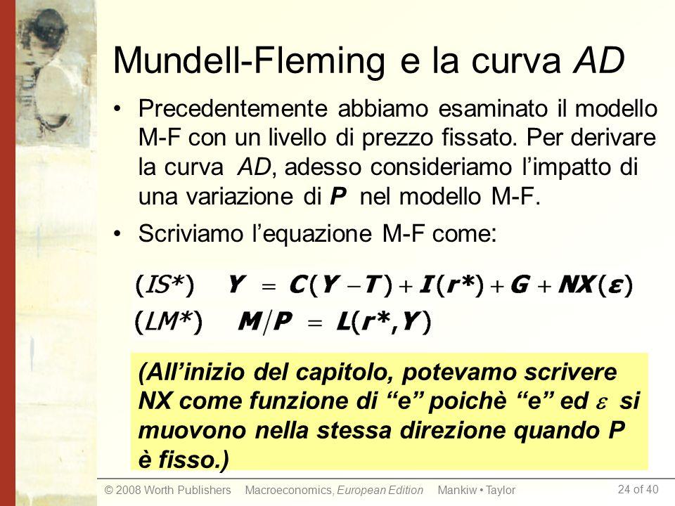 24 of 40 © 2008 Worth Publishers Macroeconomics, European Edition Mankiw Taylor Mundell-Fleming e la curva AD Precedentemente abbiamo esaminato il modello M-F con un livello di prezzo fissato.
