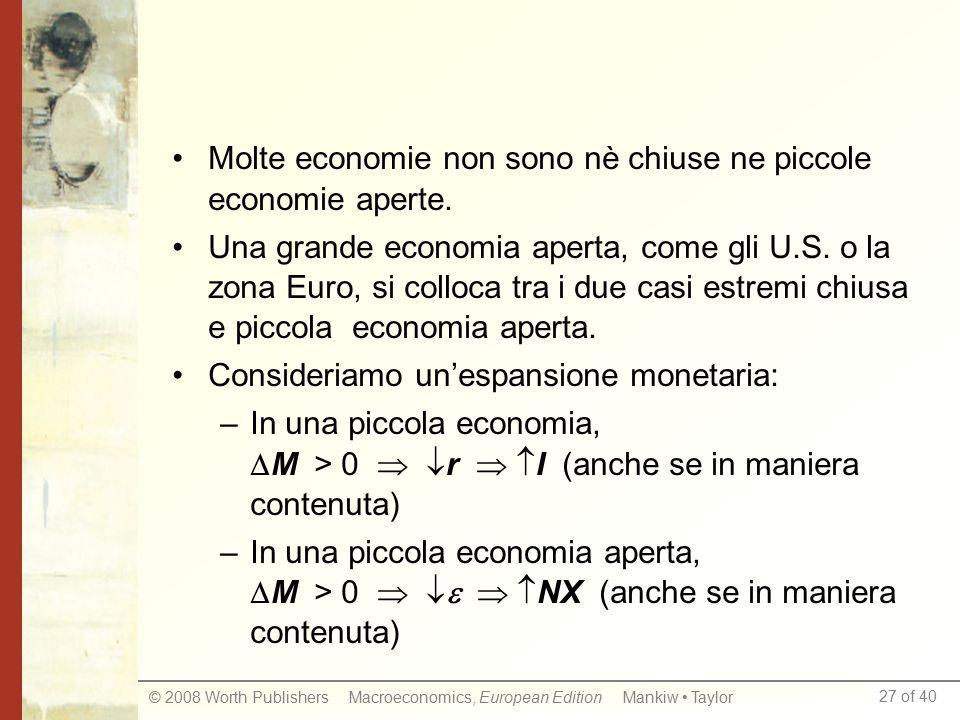 27 of 40 © 2008 Worth Publishers Macroeconomics, European Edition Mankiw Taylor Molte economie non sono nè chiuse ne piccole economie aperte.