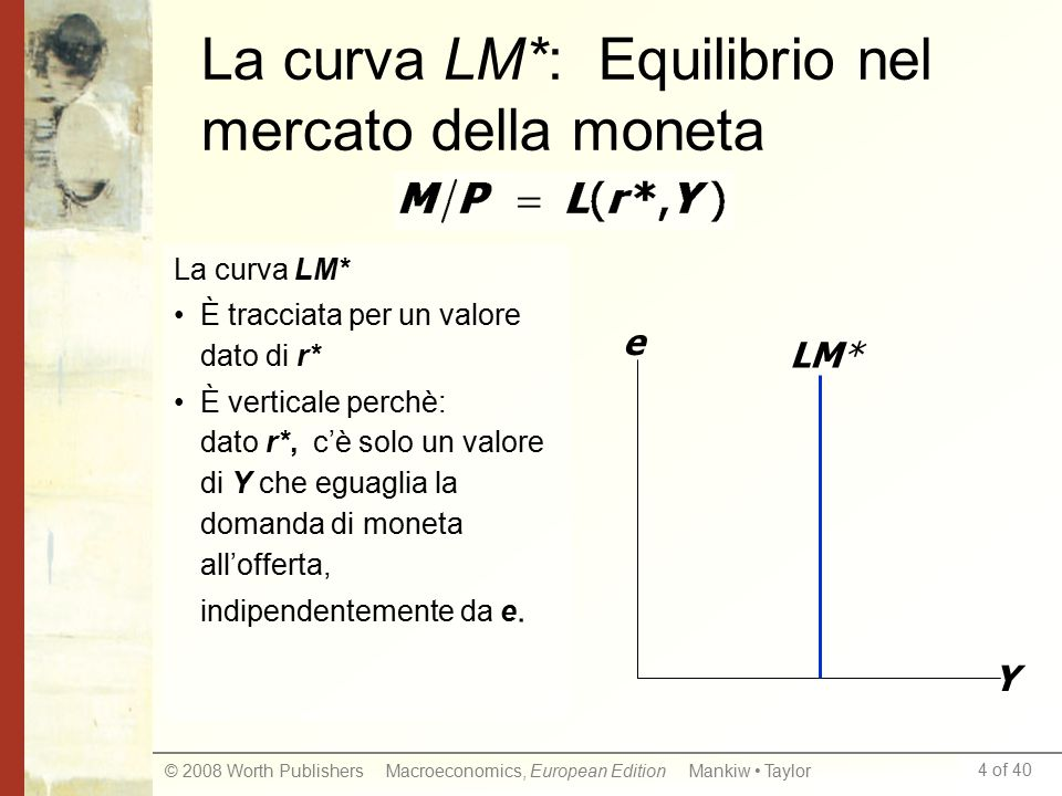4 of 40 © 2008 Worth Publishers Macroeconomics, European Edition Mankiw Taylor La curva LM*: Equilibrio nel mercato della moneta La curva LM* È tracciata per un valore dato di r* È verticale perchè: dato r*, c'è solo un valore di Y che eguaglia la domanda di moneta all'offerta, indipendentemente da e.
