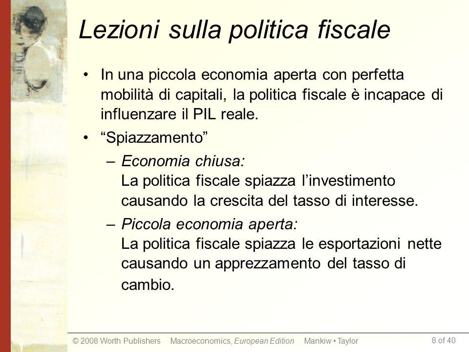8 of 40 © 2008 Worth Publishers Macroeconomics, European Edition Mankiw Taylor Lezioni sulla politica fiscale In una piccola economia aperta con perfetta mobilità di capitali, la politica fiscale è incapace di influenzare il PIL reale.
