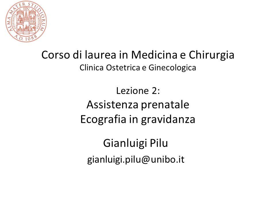 Corso di laurea in Medicina e Chirurgia Clinica Ostetrica e Ginecologica Lezione 2: Assistenza prenatale Ecografia in gravidanza Gianluigi Pilu gianluigi.pilu@unibo.it
