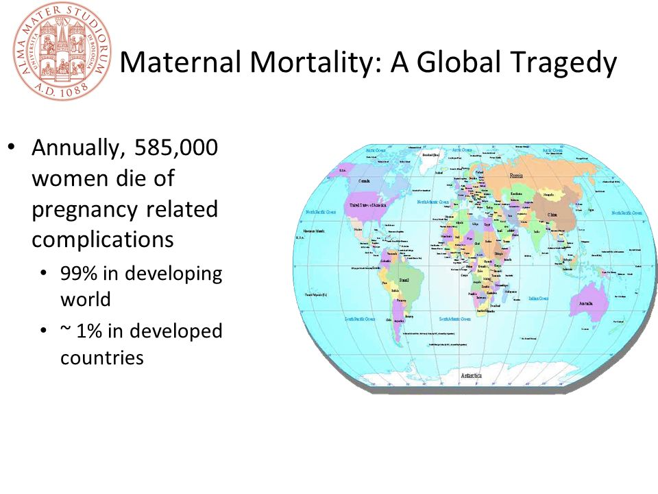 Maternal Mortality: A Global Tragedy Annually, 585,000 women die of pregnancy related complications 99% in developing world ~ 1% in developed countrie