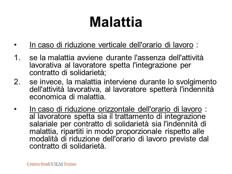 Malattia In caso di riduzione verticale dell'orario di lavoro : 1.se la malattia avviene durante l'assenza dell'attività lavorativa al lavoratore spet