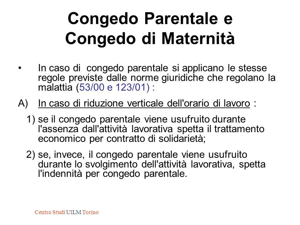 Congedo Parentale e Congedo di Maternità In caso di congedo parentale si applicano le stesse regole previste dalle norme giuridiche che regolano la ma