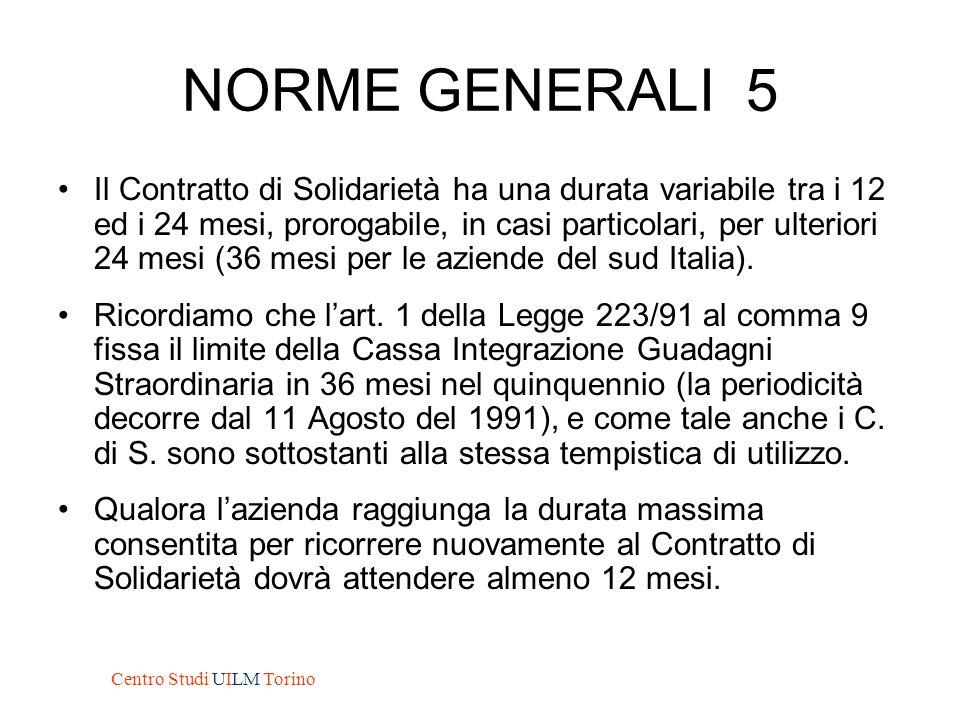 NORME GENERALI 5 Il Contratto di Solidarietà ha una durata variabile tra i 12 ed i 24 mesi, prorogabile, in casi particolari, per ulteriori 24 mesi (3