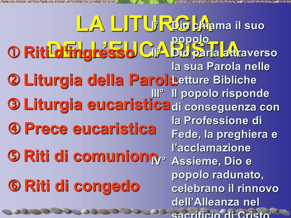 LA LITURGIA DELL'EUCARISTIA  Riti d'ingresso  Liturgia della Parola  Liturgia eucaristica  Riti di comunione  Riti di congedo I°Dio chiama il suo