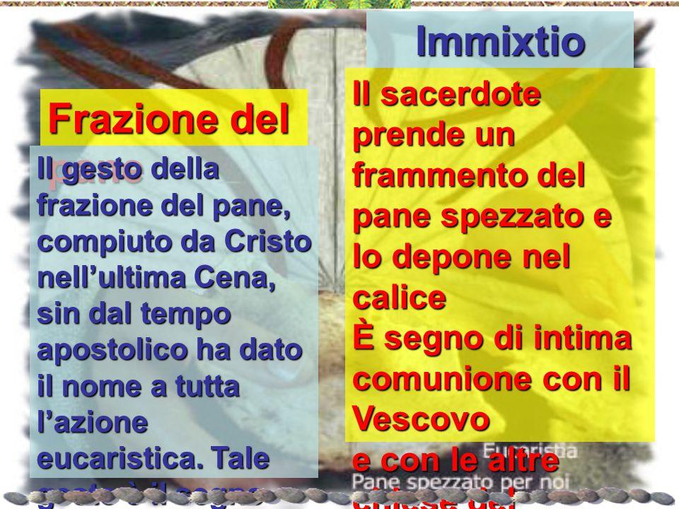 Frazione del pane Il gesto della frazione del pane, compiuto da Cristo nell'ultima Cena, sin dal tempo apostolico ha dato il nome a tutta l'azione euc