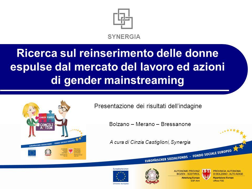SYNERGIA Ricerca sul reinserimento delle donne espulse dal mercato del lavoro ed azioni di gender mainstreaming Presentazione dei risultati dell'indagine Bolzano – Merano – Bressanone A cura di Cinzia Castiglioni, Synergia