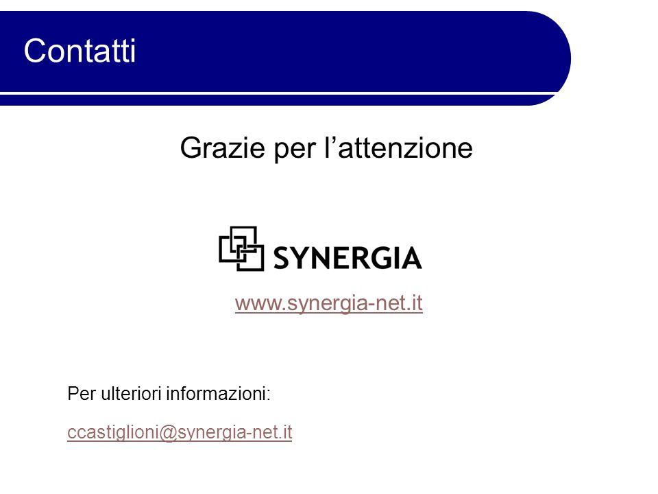 Grazie per l'attenzione www.synergia-net.it Per ulteriori informazioni: ccastiglioni@synergia-net.it Contatti