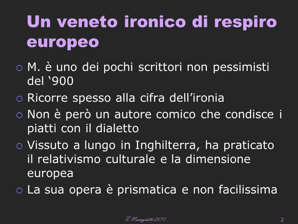 F.Meneghetti 2007 3 Un autore sui generis L'autore è atipico.