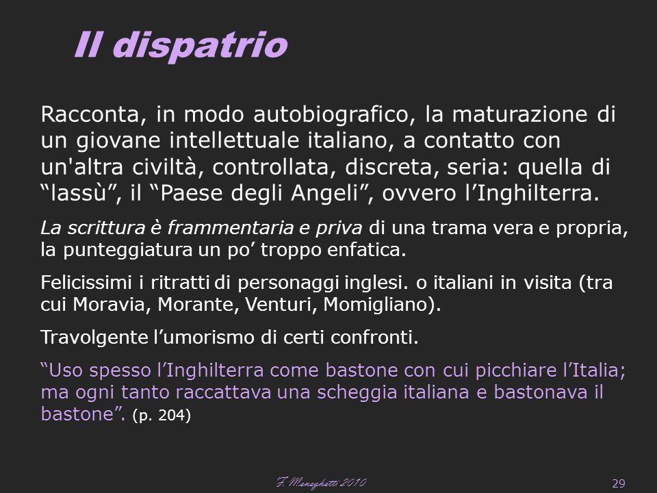 F. Meneghetti 2010 29 Il dispatrio Racconta, in modo autobiografico, la maturazione di un giovane intellettuale italiano, a contatto con un'altra civi