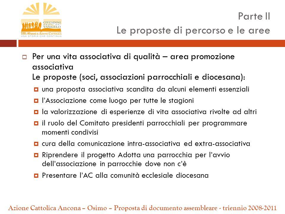  Per una vita associativa di qualità – area promozione associativa Le proposte (soci, associazioni parrocchiali e diocesana):  una proposta associat