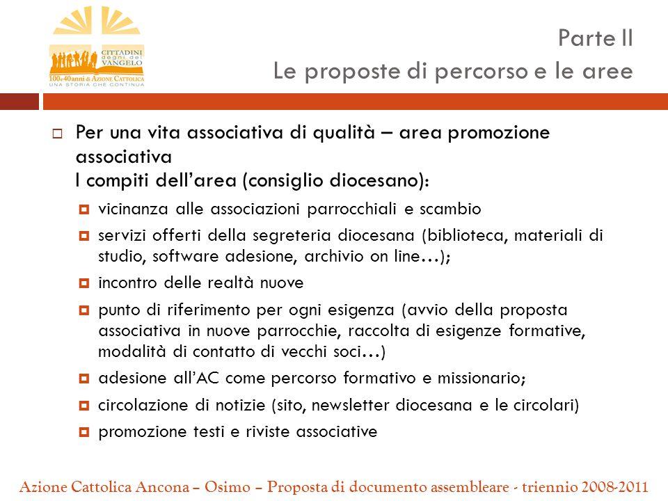  Per una vita associativa di qualità – area promozione associativa I compiti dell'area (consiglio diocesano):  vicinanza alle associazioni parrocchi