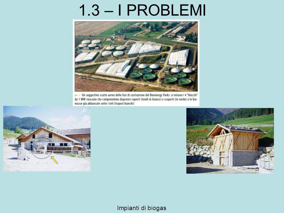 1.3 – I PROBLEMI Impianti di biogas