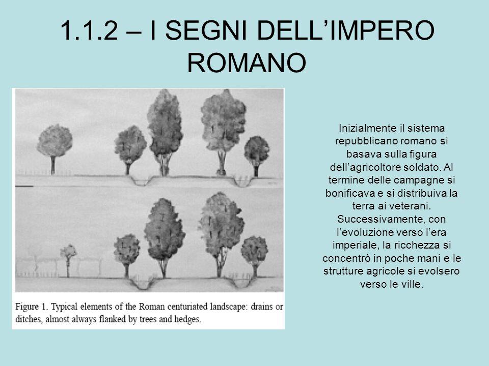 1.1.2 – I SEGNI DELL'IMPERO ROMANO Inizialmente il sistema repubblicano romano si basava sulla figura dell'agricoltore soldato. Al termine delle campa