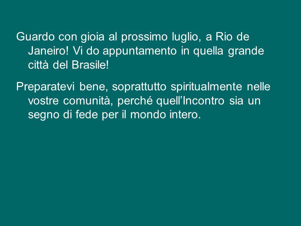 Cari amici, anch'io mi metto in cammino con voi, da oggi, sulle orme del beato Giovanni Paolo II e di Benedetto XVI. Ormai siamo vicini alla prossima