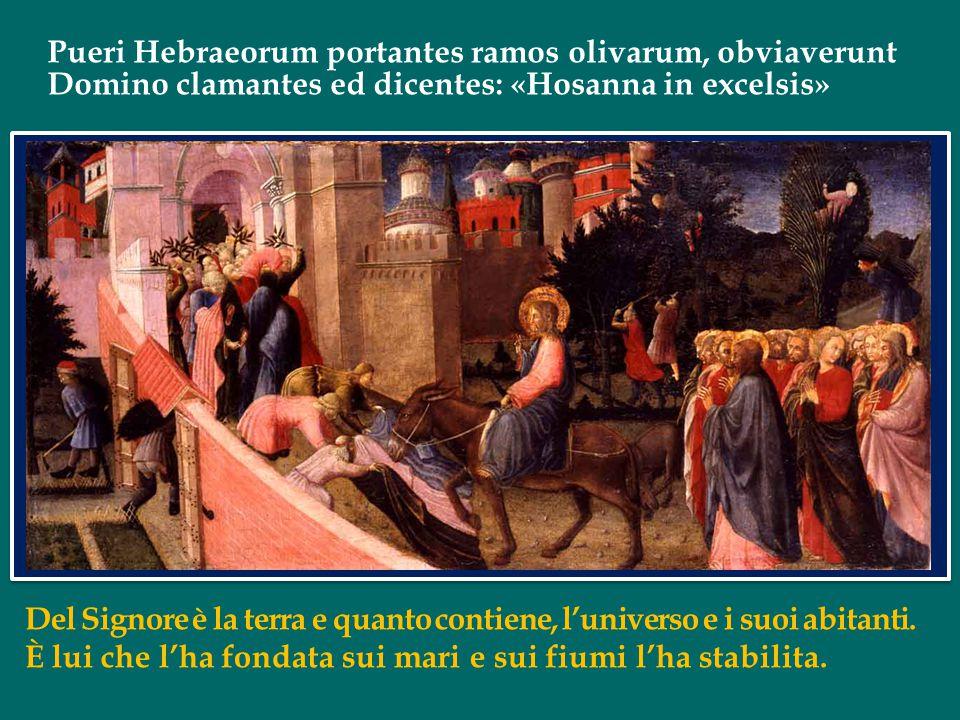 Pueri Hebraeorum portantes ramos olivarum, obviaverunt Domino clamantes ed dicentes: «Hosanna in excelsis» Del Signore è la terra e quanto contiene, l'universo e i suoi abitanti.