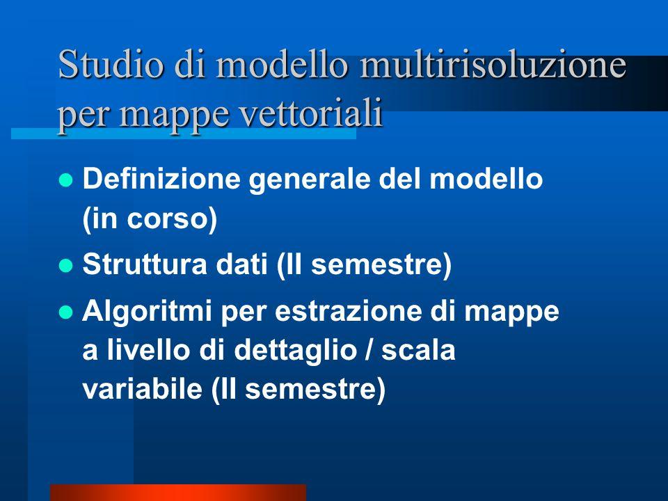 Studio di modello multirisoluzione per mappe vettoriali Definizione generale del modello (in corso) Struttura dati (II semestre) Algoritmi per estrazione di mappe a livello di dettaglio / scala variabile (II semestre)