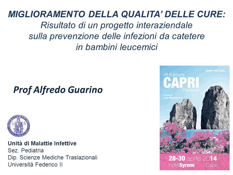 Prof Alfredo Guarino MIGLIORAMENTO DELLA QUALITA' DELLE CURE: Risultato di un progetto interaziendale sulla prevenzione delle infezioni da catetere in