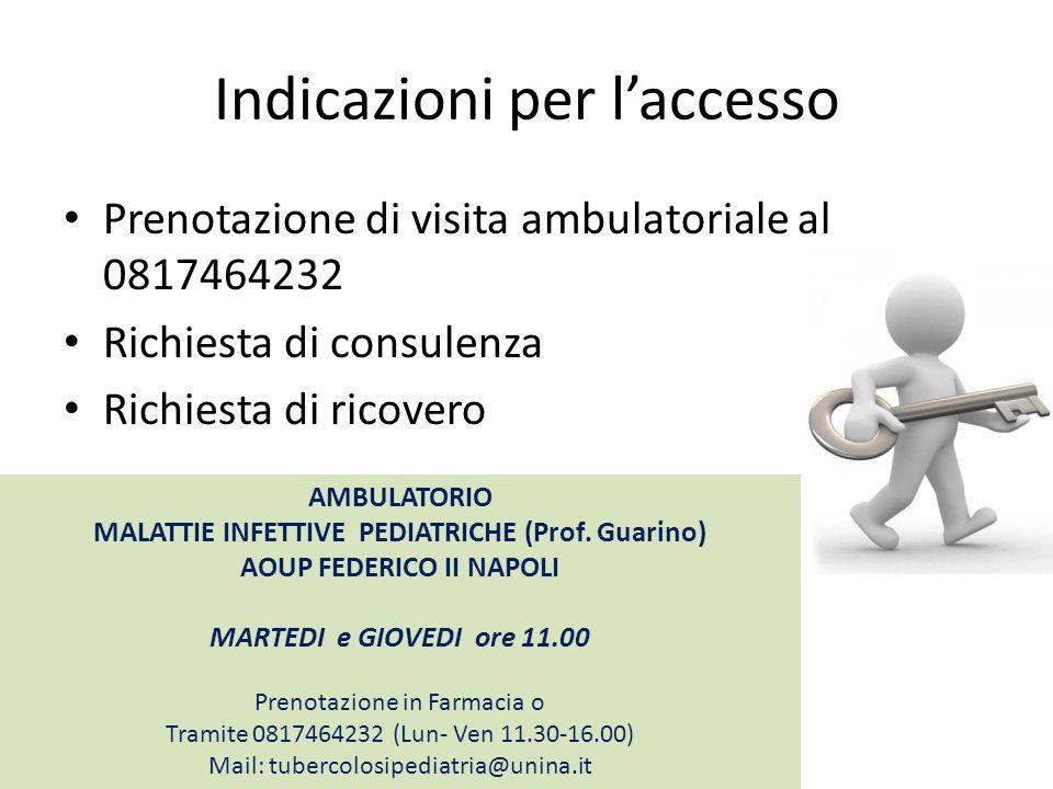 Indicazioni per l'accesso Prenotazione di visita ambulatoriale al 0817464232 Richiesta di consulenza Richiesta di ricovero AMBULATORIO MALATTIE INFETT