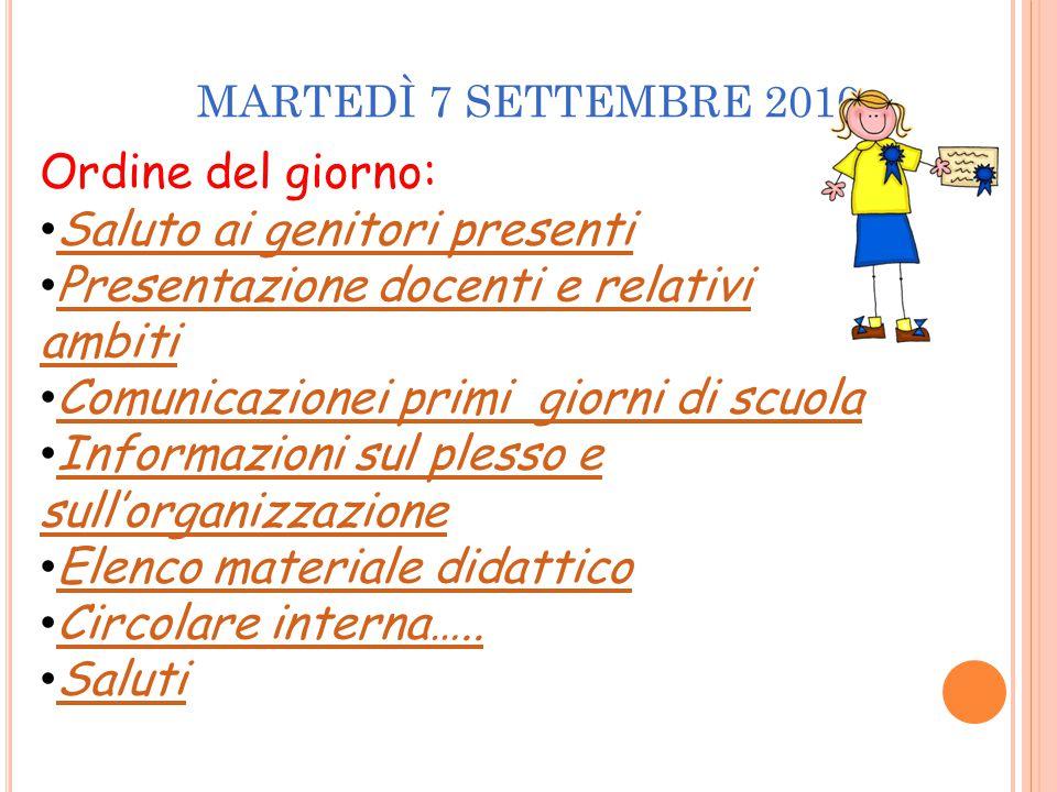 MARTEDÌ 7 SETTEMBRE 2010 Ordine del giorno: Saluto ai genitori presenti Presentazione docenti e relativi ambiti Presentazione docenti e relativi ambit