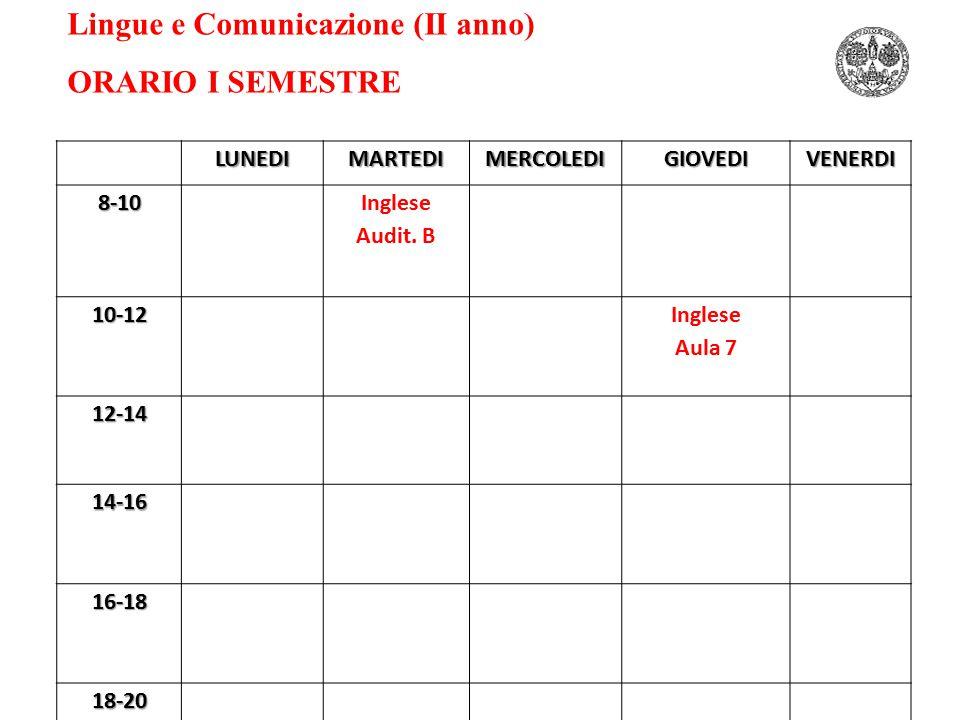 Lingue e Comunicazione (II anno) ORARIO I SEMESTRELUNEDIMARTEDIMERCOLEDIGIOVEDIVENERDI8-10 Inglese Audit.