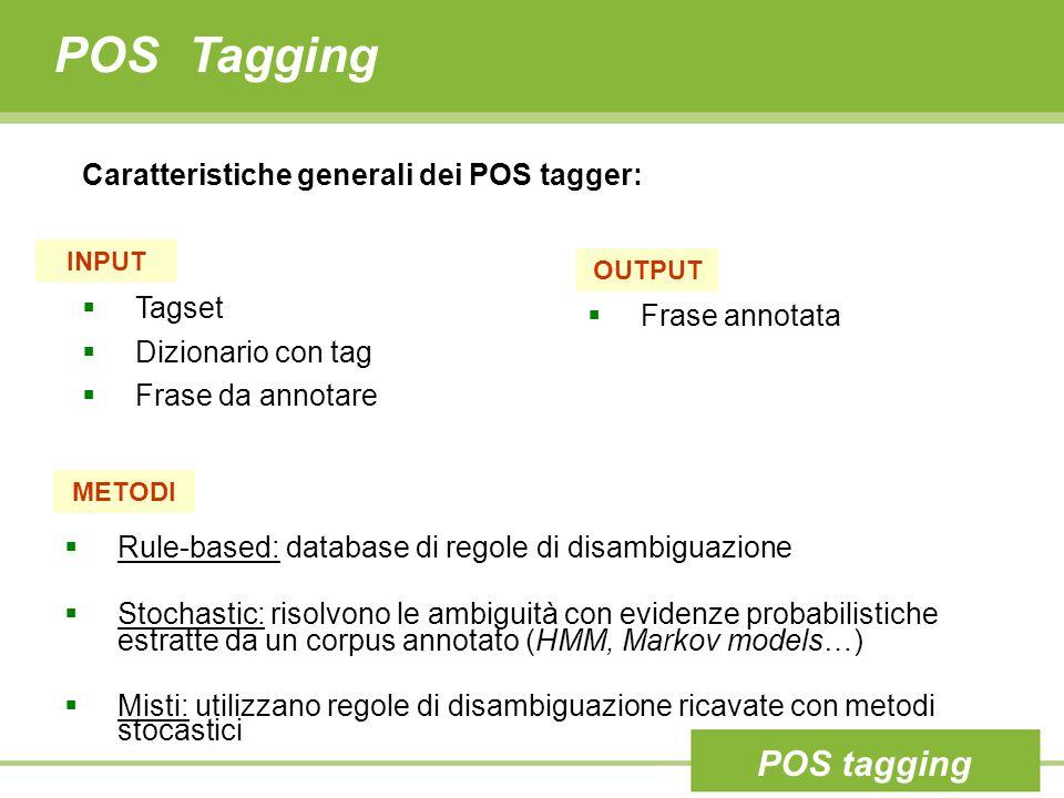 POS Tagging  Tagset  Dizionario con tag  Frase da annotare INPUT  Frase annotata OUTPUT METODI  Rule-based: database di regole di disambiguazione