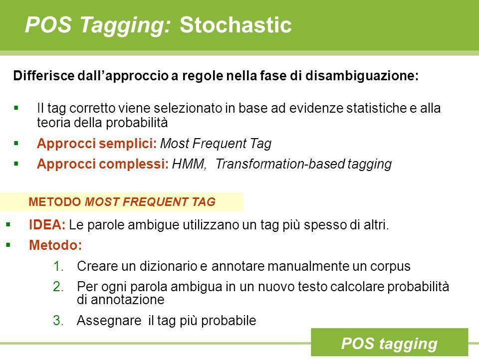 POS Tagging: Stochastic Differisce dall'approccio a regole nella fase di disambiguazione:  Il tag corretto viene selezionato in base ad evidenze statistiche e alla teoria della probabilità  Approcci semplici: Most Frequent Tag  Approcci complessi: HMM, Transformation-based tagging METODO MOST FREQUENT TAG  IDEA: Le parole ambigue utilizzano un tag più spesso di altri.