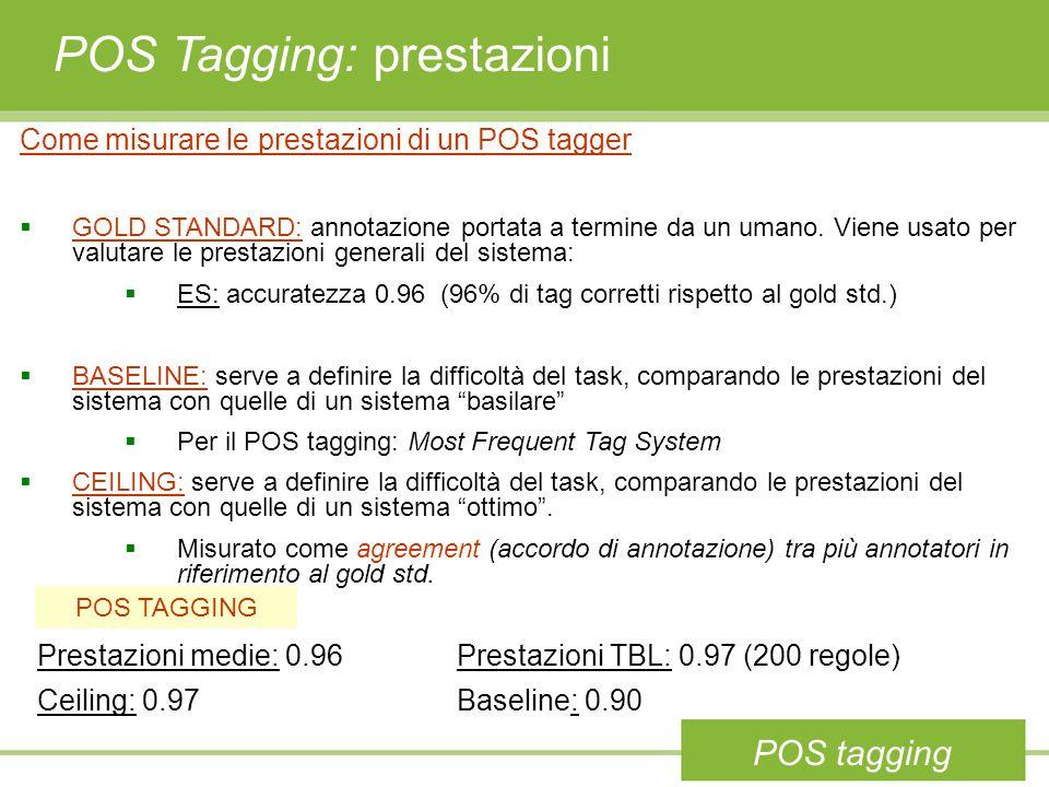 POS Tagging: prestazioni Come misurare le prestazioni di un POS tagger  GOLD STANDARD: annotazione portata a termine da un umano.