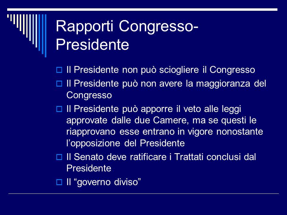 Rapporti Congresso- Presidente  Il Presidente non può sciogliere il Congresso  Il Presidente può non avere la maggioranza del Congresso  Il Preside