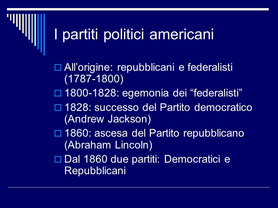 """I partiti politici americani  All'origine: repubblicani e federalisti (1787-1800)  1800-1828: egemonia dei """"federalisti""""  1828: successo del Partit"""