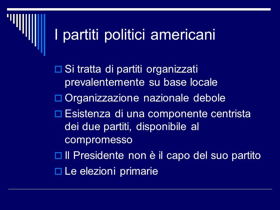 I partiti politici americani  Si tratta di partiti organizzati prevalentemente su base locale  Organizzazione nazionale debole  Esistenza di una co