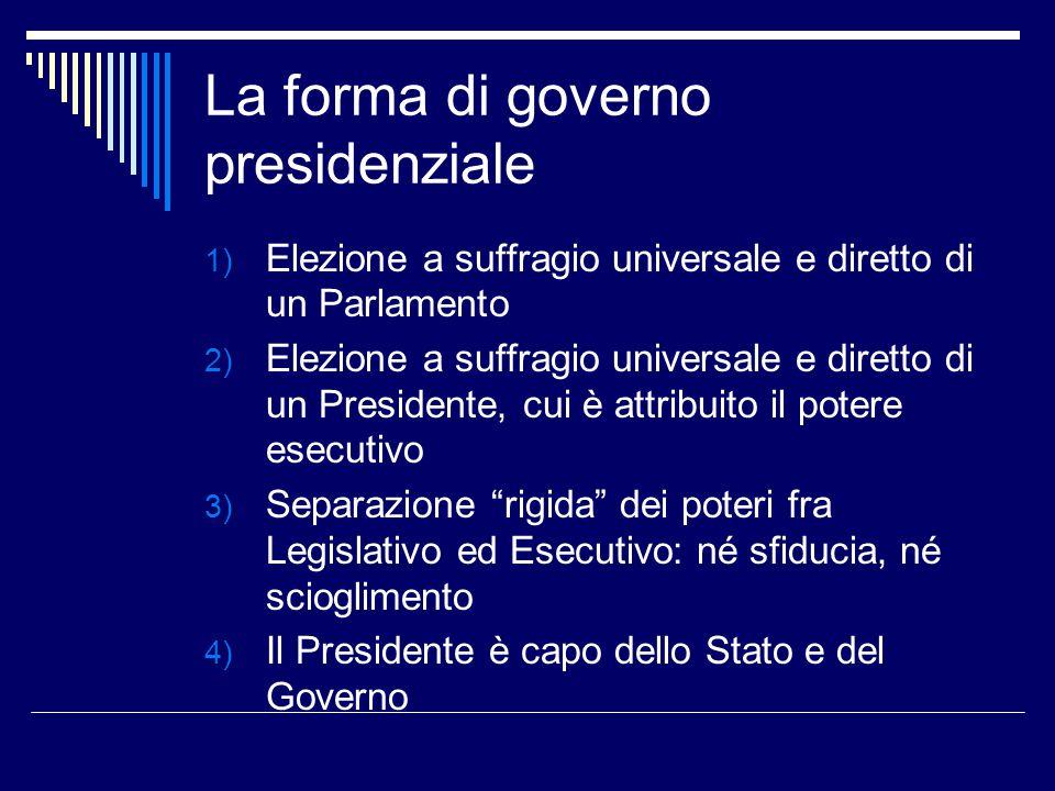 La forma di governo presidenziale 1) Elezione a suffragio universale e diretto di un Parlamento 2) Elezione a suffragio universale e diretto di un Pre