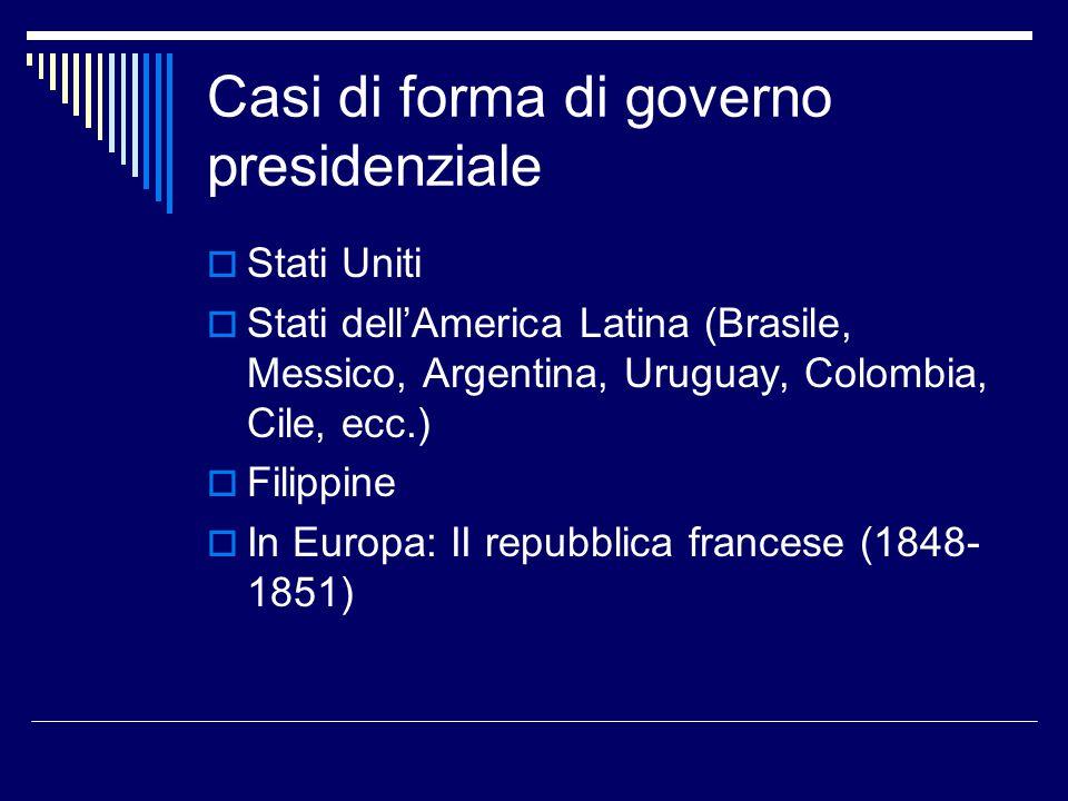 Casi di forma di governo presidenziale  Stati Uniti  Stati dell'America Latina (Brasile, Messico, Argentina, Uruguay, Colombia, Cile, ecc.)  Filipp