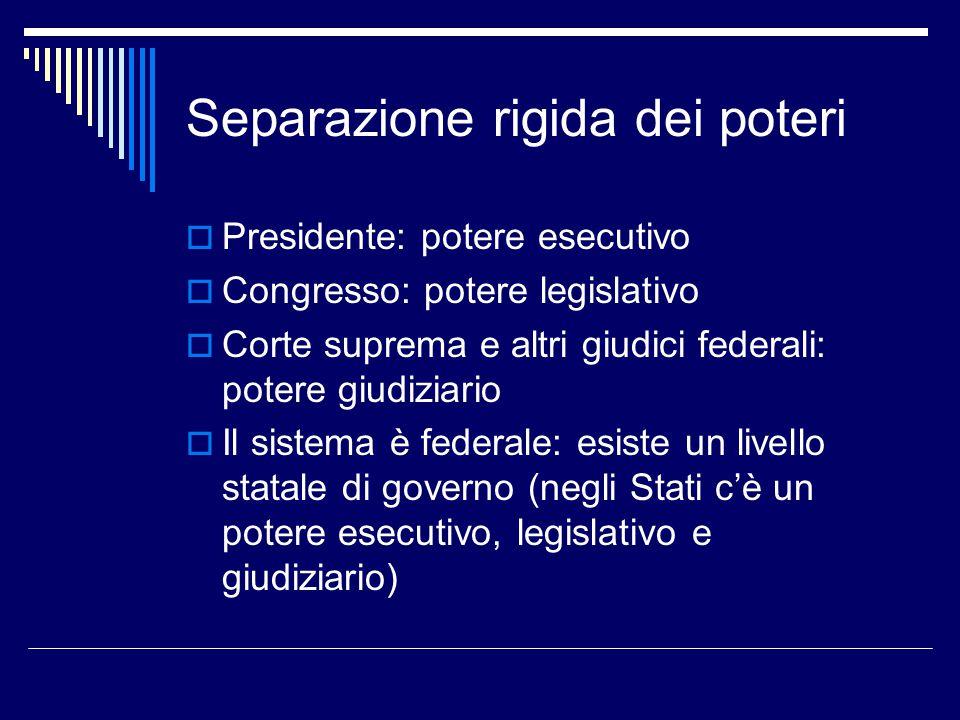 Separazione rigida dei poteri  Presidente: potere esecutivo  Congresso: potere legislativo  Corte suprema e altri giudici federali: potere giudizia