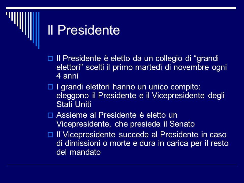 """Il Presidente  Il Presidente è eletto da un collegio di """"grandi elettori"""" scelti il primo martedì di novembre ogni 4 anni  I grandi elettori hanno u"""