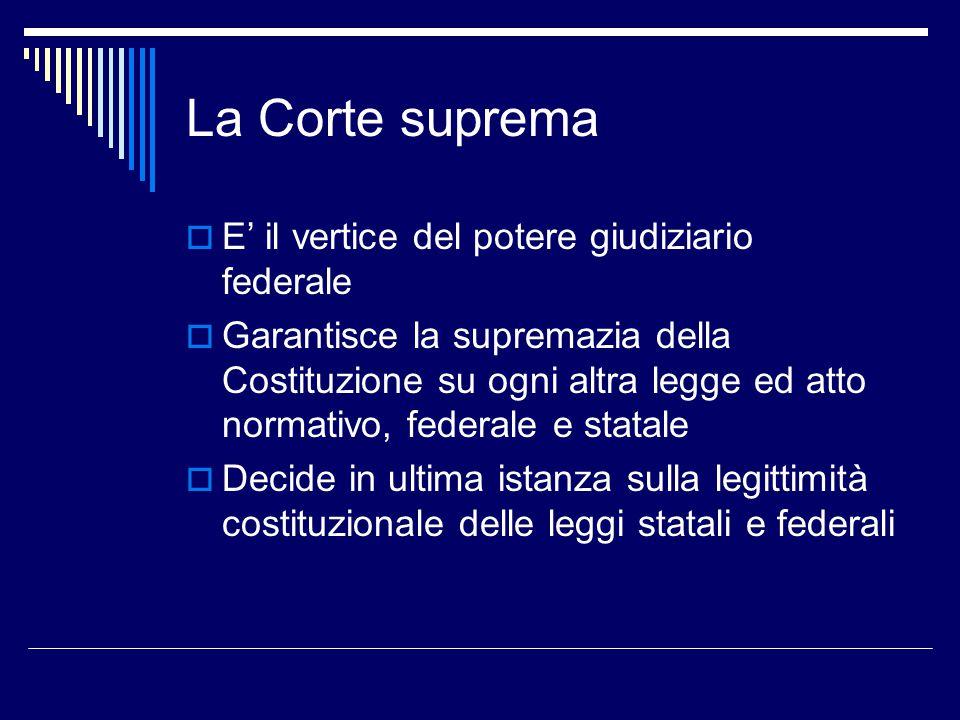 La Corte suprema  E' il vertice del potere giudiziario federale  Garantisce la supremazia della Costituzione su ogni altra legge ed atto normativo,