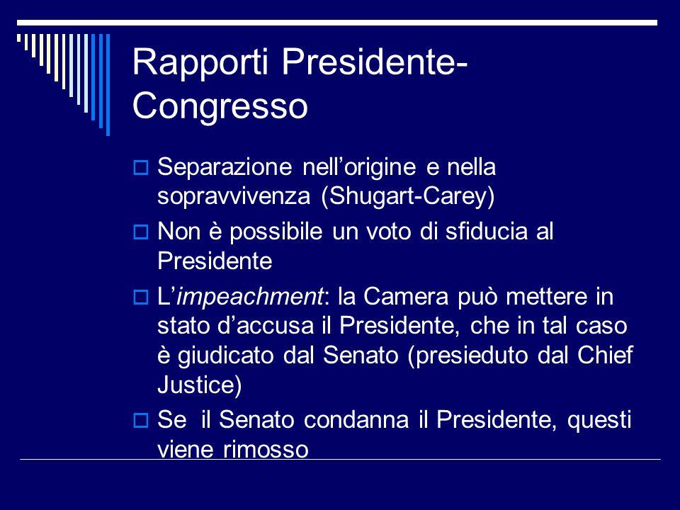 Rapporti Presidente- Congresso  Separazione nell'origine e nella sopravvivenza (Shugart-Carey)  Non è possibile un voto di sfiducia al Presidente 